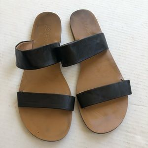 Jcrew black brown strap sandal Sz 9
